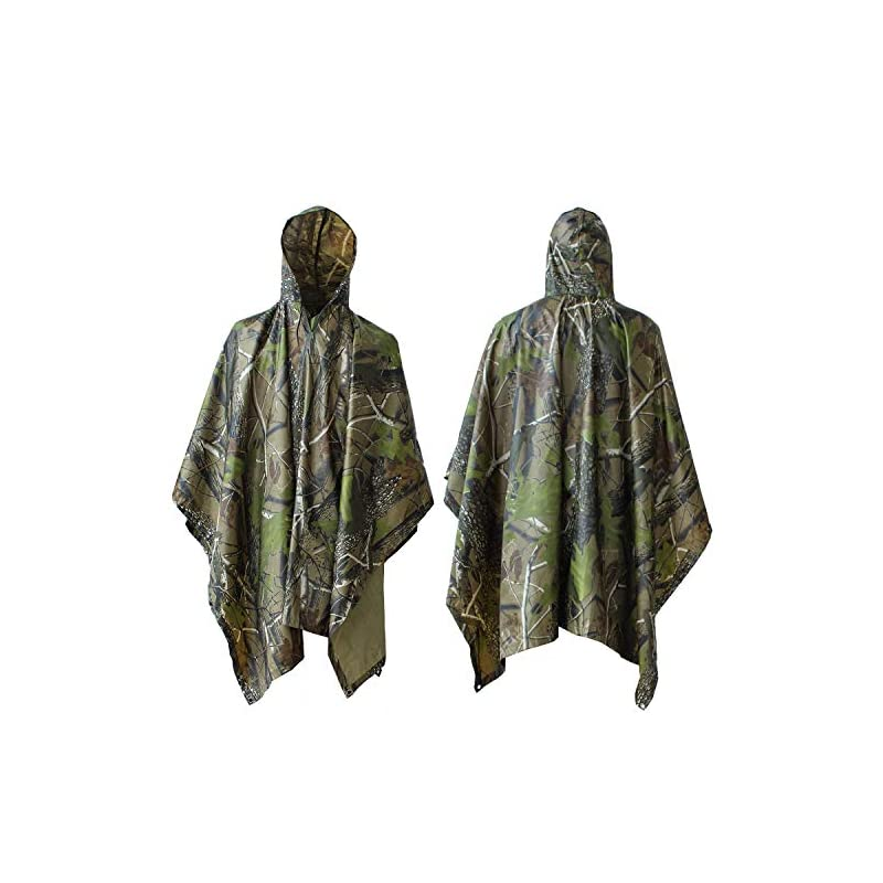 ElifeAcc Multifunctional Rain Cape Hooded Poncho – Waterproof Raincoat,Tent Ground Sheet Mat,Sunshade Tarp,Perfect for…