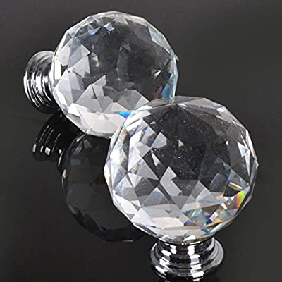 New 6pcs 40MM Clear Crystal Acrylic Glass Door Knobs Handle Cupboard Pull Drawer Kitchen Cabinet Drawer knobs+ Screw Set Home Decorating produced by Clear Crystal Glass Door Knob Cabinet  Handle Kitchen Wardrobe Home Hardware Come with Screw 1PCS - quick