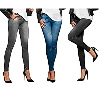 TV Unser Original Veronas Dreams Slim Jeans Leggings Damen, 3er-Set, Gr. 38/40 (Herstellergröße: L/XL), Mehrfarbig (Schwarz,Blaub,Grau)