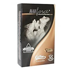 Manforce 3 in 1 Ribbed Contour Condom - 10 Pieces (Coffee)
