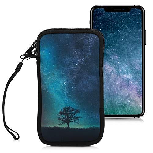 """kwmobile Handytasche für Smartphones L - 6,5"""" - Neopren Handy Tasche Hülle Cover Case Schutzhülle - Galaxie Baum Wiese Design Blau Grau Schwarz - 16,2 x 8,3 cm Innenmaße"""