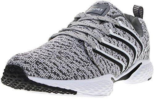 PORTANT Outdoor Sport Running Schuhe Leicht Schnürer Wander Sneakers Herren Freizeit Straßen Laufschuhe Mesh Atmungsaktiv Fitness Turnschuhe Grau Weiß Schwarz 41 EU (42 Asien)