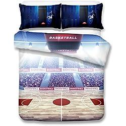 Cancha de Baloncesto bajo la luz 3d juego de ropa de cama de funda nórdica realista cama hoja # 2, 100% poliéster, Water butterfly, suelto