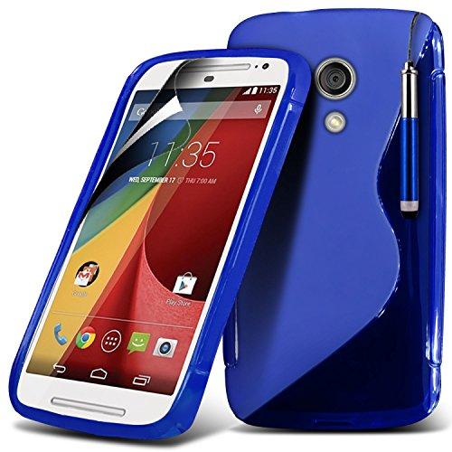 Motorola Moto G 2nd Generation Moto G2 Blue High Quality Designed Premium-Tough Survivor Robuste Hart Shock Proof Heavy Duty-Fall-Haut-Abdeckung mit LCD-Display Schutzfolie, Reinigungstuch und Mini-ve WGEL Clear + Pen