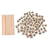 Sharplace 100 Stück Nummer Fliesen Zum Spielen | Zahlen Steine Ersatz Fliesen aus Holz mit Rack für Handwerk Dekoration Oder Lernspiel