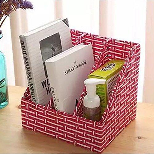 lililili Rattan zeitungsständer, Desktop-Speicher-Rack Gewebte aufbewahrungskorb Desktop-briefpapier-aufbewahrungsbox Bücher Stand Kreativ Einfache Für büro und zu Hause-Rot 25x20x23cm(10x8x9inch) -