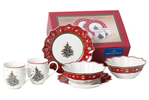 Villeroy & Boch 1485857281 Frühstücks-Set, Porzellan, weiß / rot, 35.4 x 13.7 x 25.1 cm, 6 Einheiten
