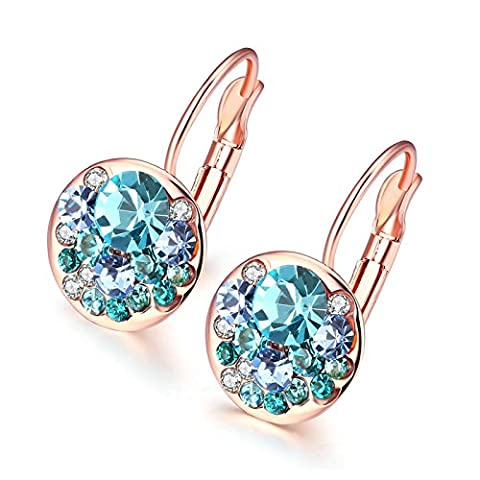 Gnzoe Jewelry 18K Rose Gold Plated Stud Earrings Women Round Shape Twotone CZ Blue Crystal Eco Friendly