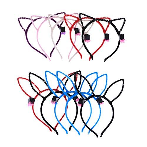 Lurrose 10 stücke LED Katze Ohr Stirnband und Fuzzy Stoff Kaninchen Ohr Haarbänder für ()