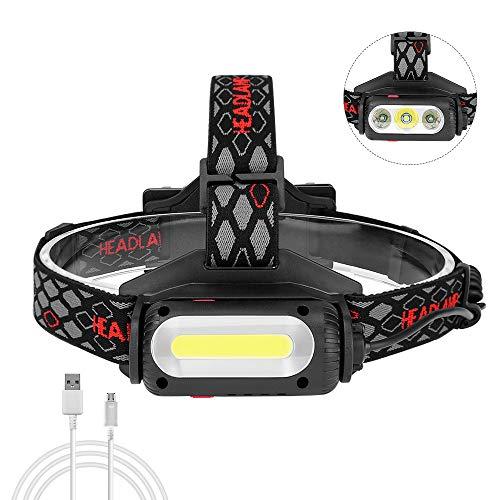 Guiseapue Stirnlampe, USB Wiederaufladbare Stirnlampe, COB-Kopflampe mit Hoher Helligkeit LED Kopflampe Perfekt fürs Joggen, Laufen, Gehen, Campen, Lesen, Angeln 2 * 18650 Batterie eingeschlossen