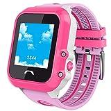Smartwatches Für Jungen Mädchen Bluetooth Telefonuhren Mit GPS Tracker AGPS + LBS Ort Mit SOS Wecker Kamera App Kontrolle Durch Eltern Kompatibel Mit Iphone / Android Bestes Geschenk Für Kinder,Pink