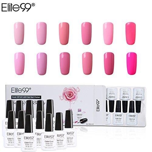 Elite99 smalto semipermanente per unghie in gel uv led 12pcs kit ricostruzione per unghie colore rosa smalti semipermanenti soakoff - gift set 005