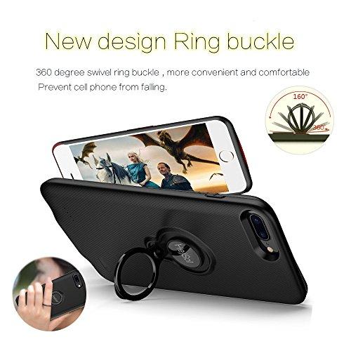 iPhone 8Plus Coque/iPhone 7Plus Coque avec béquille pour bague–Fonction, rotatif à 360° Bague support Grip étui Ultra fin mince Coque rigide pour iPhone 7/8Plus (11,9cm) noir