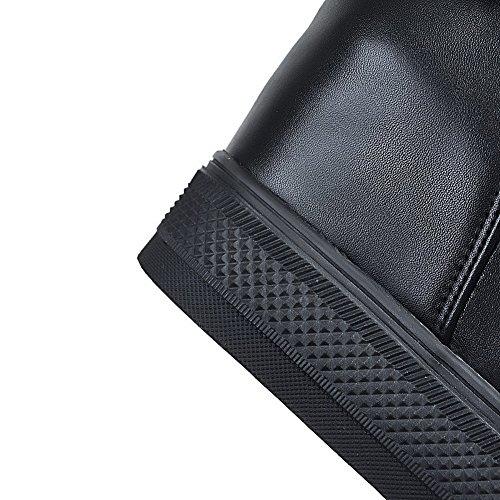 Unie Haut Rond AgooLar Talon Zip à Bottes Noir Couleur Femme wqqTCX