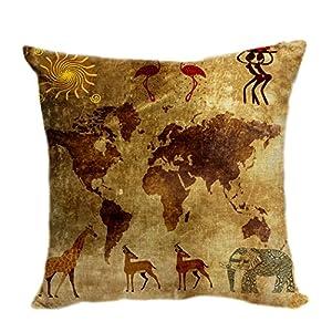 violetpos funda de cojín decorativo sofá cojín funda Auto Fundas de cojín fundas de almohada Retro Mapa del Mundo Aborígenes Danza Totem Elefante Jirafa
