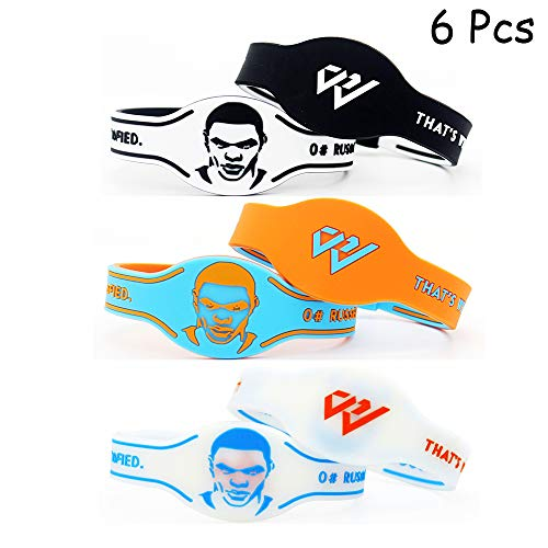 Lorh's store Basketball Team Star Spieler Gesicht Porträt Inspirierend Reversible Stil Armbänder Armbanduhr Form Sport Silikon Armband 6 Stück (Russell Westbrook)