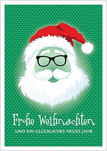 Frohe Weihnachten und EIN glückliches Neues Jahr Coole lustige Hipster Glückwunschkarte | Neujahrskarte zu Weihnachten mit Weihnachtsmann, Brille, Mütze und Sterne in Grün (Mit Umschlag) (8)