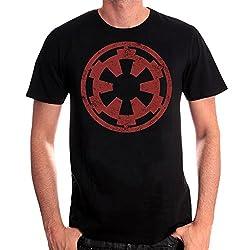 Star Wars Herren T-Shirt Galactic Empire Logo Distressed Baumwolle Schwarz - XXL
