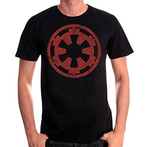 Star Wars Herren T-Shirt Galactic Empire Logo Distressed Baumwolle Schwarz - L