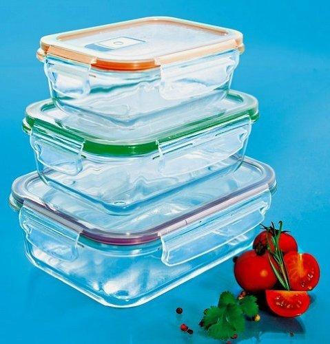 Lot de trois plats en verre rectangulaires empilables avec couvercles hermétiques compatibles four, mico ondes, frigo, congélateur