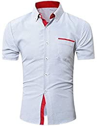 Yvelands Camisa de Solapa de Mezcla de Algodón Hombres Camisa de Costura de  Color de Manga Corta ca56cd354f7