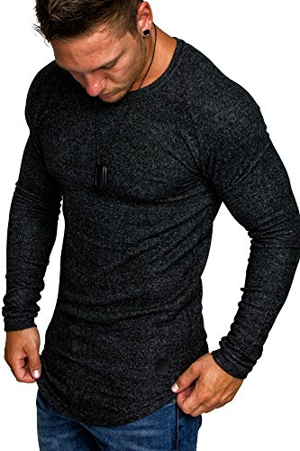 Amaci&Sons Herren Oversize Basic Pullover Melange Sweatshirt Crew Neck Fein-Strick Hoodie 6053 Schwarz Melange M