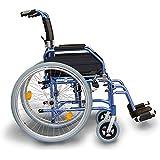 Ligera silla de ruedas autopropulsada comodidad azul con frenos