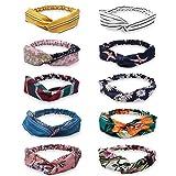 HBselect 4-10er Vintage Stirnband Haarband Headband Kopf Warp aus Stoff oder Satin mit Knot koreanisches Haarband für Damen (8-er)