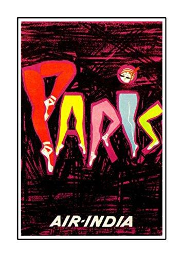 Air Indien-Paris, A4Laminiertes Poster, Vintage, Foto, Old Airways, Airways Foto, Grafik, Bild, Airline, Reisen, schwarz und weiß, Foto, alt, retro, Druck, Oldschool,