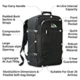 Cabin Max Backpack Flight Approved Carry On Bag Massive 44 litre Travel Hand Luggage 55x40x20 cm - Metz Black Bild 4