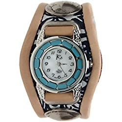 Kc,s Leather Craft Watch Bracelet Three Concho Turquoise Movement Inlay Color Navy