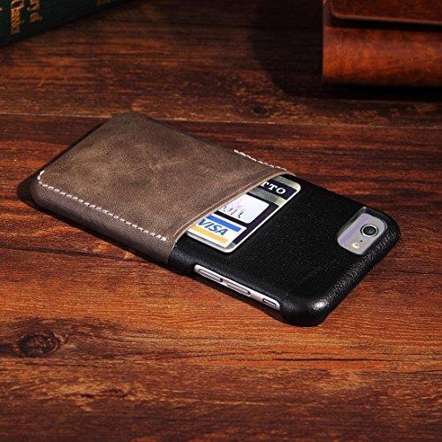 Phone case & Hülle Für iPhone 6 Plus & 6s Plus Echtes Rindslederfarben-Matching-Rückseiten-Abdeckungs-Fall mit Einbauschlitz ( Color : Wind red ) Taupe