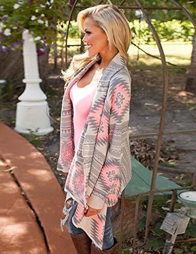 Women Casual Long Sleeve Autumn Striped Loose Outwear Cardigans