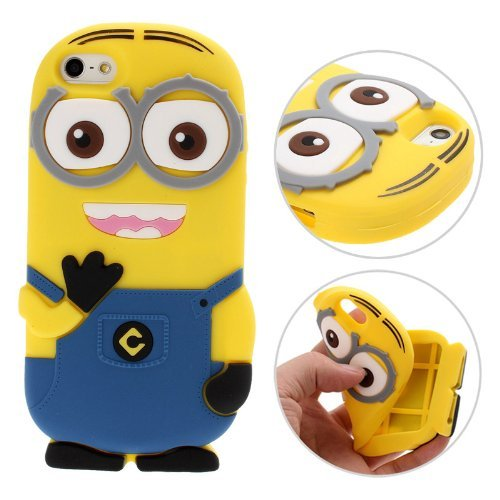 Heartly Cute Cartoon Minion Soft Rubber Silicone Flip Bumper Best Back Case Cover For Apple iPhone 6 4.7 inch / Apple iPhone 6S 4.7 inch Double Eye