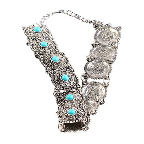 Youkara Damen Vintage Klassische Bohemia Halskette Choker Edelstein Halskette Schmuck Liebe Geschenk Dekoration für Frauen Mädchen 30 cm