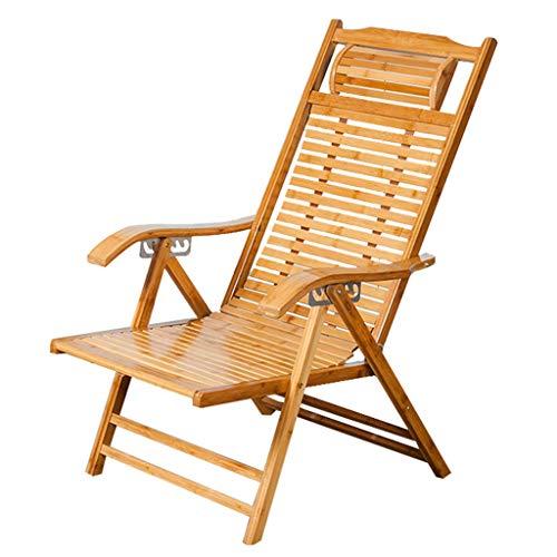 WJJJ Gartenstuhl Beach Yard Pool Klappbarer Verstellbarer Gartenstuhl Bambus-Liegestuhl Entspannungsstuhl für drinnen oder draußen (Farbe: A)