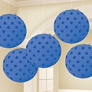 Amscan International-249000-10512cm Bright Royal azul caliente con sello Paper Lanterns