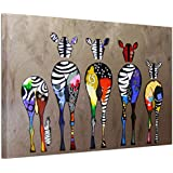 "UNIQUEBELLA (No Frame,unmounted) Abstract Multicolored Zebras background abstract painting printed on Canvas, Poster print painting on Canvas for Home kids room decoration for Home Decoration, 1 pc/set 30"" x 20"""