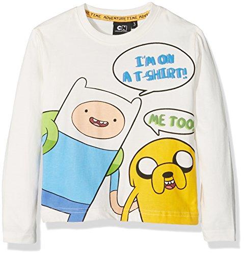 Adventure Time T-Shirt Manica Lunga-Originale, Maglietta Bambino, Panna, 3