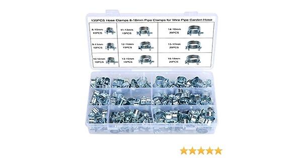 WiMas 135PCS Tuyau Clips Clip /à Ressort Tuyau Serre-joints /à Tuyaux Colliers de Clip Zingu/é pour machine /à laver fil c/âble tuyau darrosage 8-18mm