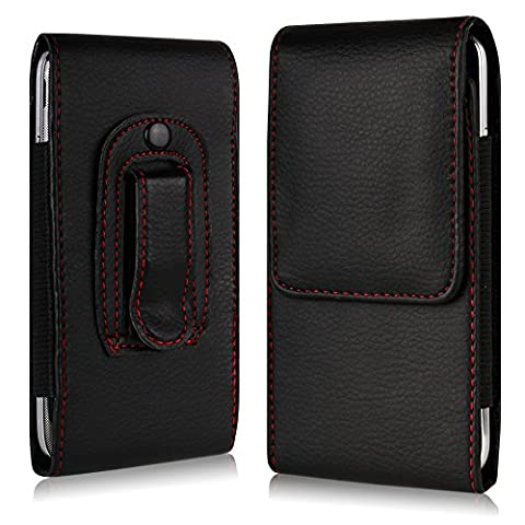 Tigerbox® Leather Belt Clip Pouch Case Flip Cover Holster With Elasticated Sides And Magnetic Fastener For Apple iPhone 6s / iPhone 6 - Black