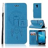 LMAZWUFULM Hülle für Honor 5C / Huawei 7 Lite/Huawei GT3 (5,2 Zoll) PU Leder Magnetverschluss Brieftasche Lederhülle Eule und Traumfänger Muster Standfunktion Ledertasche Flip Cover Blau