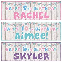 2 Personalised Birthday Banners - Wood Bunting Design - Any Name & Any Age (Approx 3ft x 1ft) (Pink)