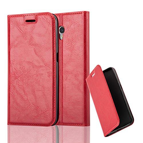 Cadorabo Hülle für ZTE Blade V7 - Hülle in Apfel ROT – Handyhülle mit Magnetverschluss, Standfunktion und Kartenfach - Case Cover Schutzhülle Etui Tasche Book Klapp Style