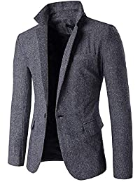 Lanceyy Blazer Herren Slim Fit EIN Knopf Fischgrat Mens Einfacher Stil  Mantel Smart Formales Abendessen Baumwolle 97ecaebc55