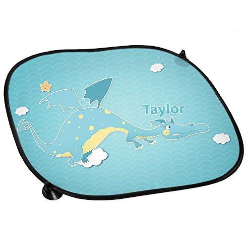 Preisvergleich Produktbild Auto-Sonnenschutz mit Namen Taylor und Motiv mit Drache für Jungen | Auto-Blendschutz | Sonnenblende | Sichtschutz