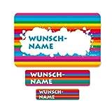 Striefchen® Schuletiketten mit Wunschname Motiv: Regenbogen - 100 teiliges Set