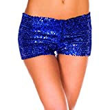 Pailletten Shorts Luckycat Sommerhosen Damen Kurz Mode Frauen Hohe Taille Yoga Shiny Sport Hosen Shorts Metallic Hosen Leggings Shorts Hose Sommerhosen Pants Hosen (Blau, X-Large)