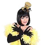 Minihut Burlesque Zylinder Hut gold Minizylinder am Bügel Can Can Girl Kopfbedeckung Tänzerin Fascinator Kopfschmuck Glitzer Zylinderhut
