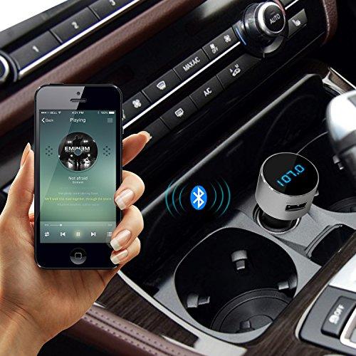 TECKNET Bluetooth FM Transmitter, Wireless Trasmettitore FM Radio con Caricabatteria da Auto USB 5V / 2.1A
